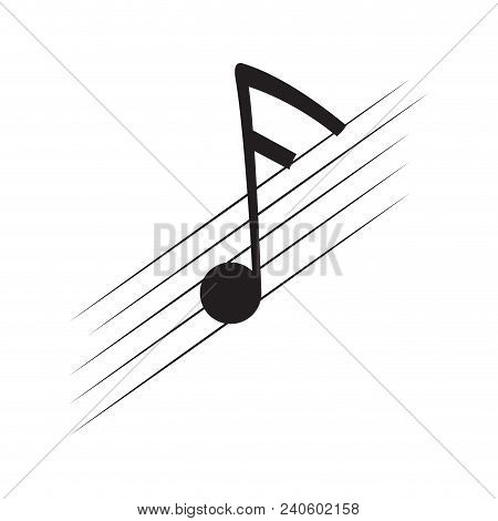 Isolated Sixteenth Note On A Pentagram. Vector Illustration Design