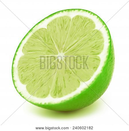 Perfectly Retouched Sliced Half Of Lime Fruit Isolated On The White Background With Clipping Path. O