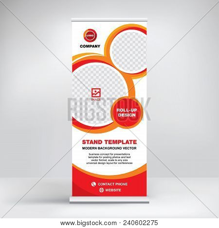 Roll-up Banner Template, Advertising Stand Design For Conferences, Seminars, Business Presentations,