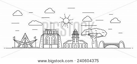 South Africa Panorama. South Africa Vector Illustration In Outline Style With Buildings And City Arc