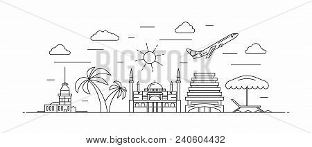 Turkey Panorama. Turkey Vector Illustration In Outline Style With Buildings And City Architecture. W