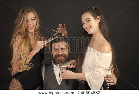 Closeup View Of Young Beautiful People Of Beautiful Fashionable Female Barber Cutting And Holding Sc