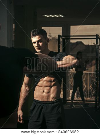 Man With Torso, Muscular Macho And His Reflexion In Mirror Background. Sportsman, Athlete With Muscl