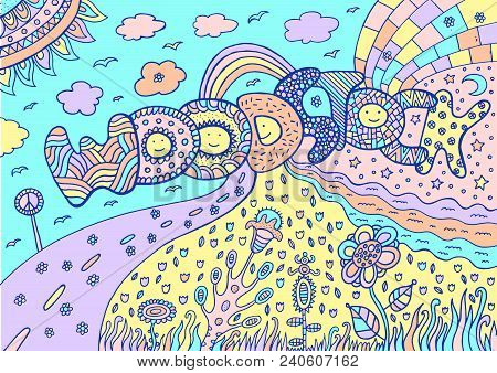 Pastel Colored Artwork With Word Woodstock And Summer Landscape. Tumblr Neon Colors. Cartoon Doodle