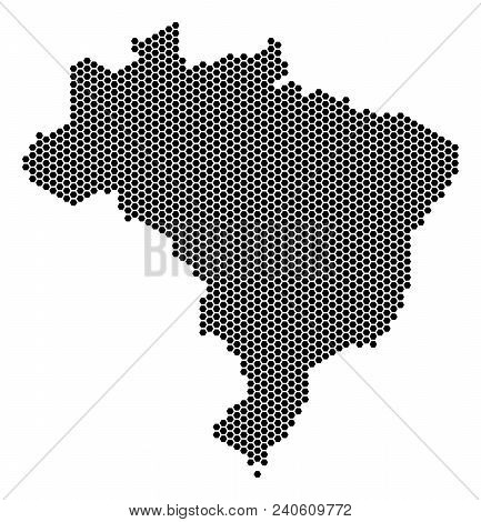 Hex Tile Brazil Map. Vector Geographic Scheme On A White Background. Abstract Brazil Map Composition