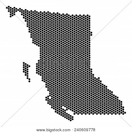 Hex-tile British Columbia Province Map. Vector Territory Scheme On A White Background. Abstract Brit