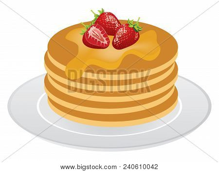Vector Illustration Of Stack Of Pancakes With Maple Syrup And Strawberries.