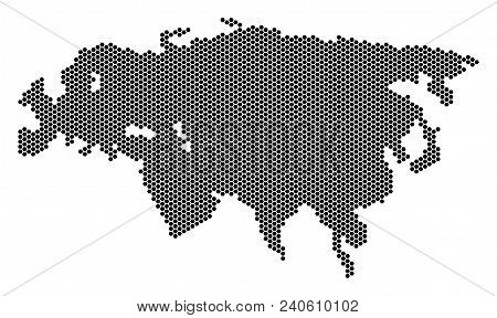 Honeycomb Eurasia Map. Vector Geographic Scheme On A White Background. Abstract Eurasia Map Composit