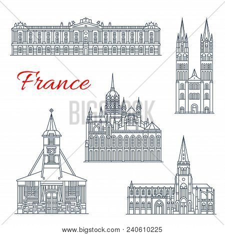 Travel Landmark Of France Thin Line Icon Of French Architecture. Treguier Cathedral, City Hall Of To