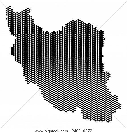 Hex-tile Iran Map. Vector Geographic Plan On A White Background. Abstract Iran Map Collage Is Made W