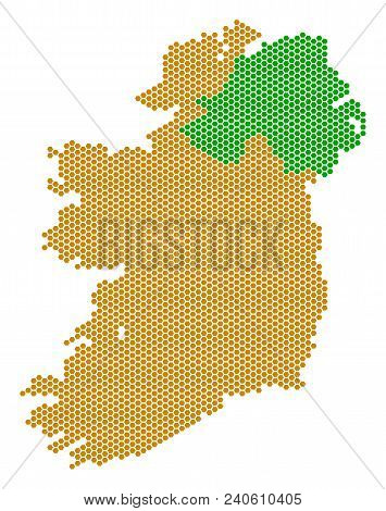 Hexagonal Ireland Countries Map. Vector Territory Scheme On A White Background. Abstract Ireland Cou