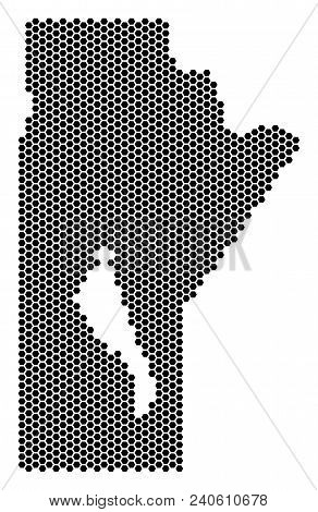 Hex Tile Manitoba Province Map. Vector Territorial Scheme On A White Background. Abstract Manitoba P
