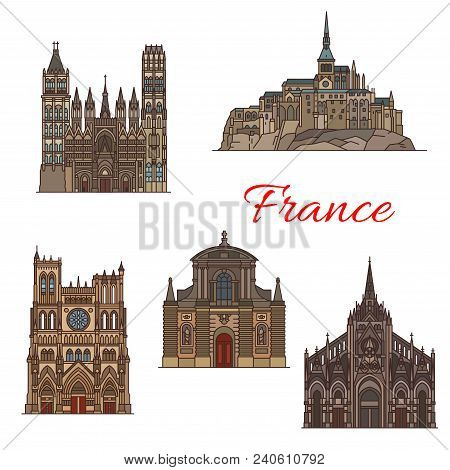 Travel Landmark Of France Linear Icon Of Famous Tourist Sights. Church Of Saint-maclou, Rouen Cathed