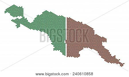 Hex-tile New Guinea Countries Map. Vector Territory Scheme On A White Background. Abstract New Guine