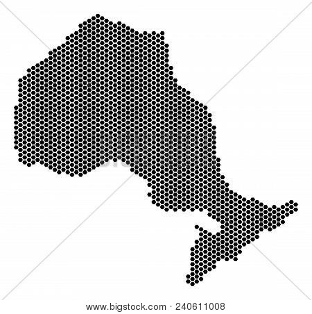 Honeycomb Ontario Province Map. Vector Territory Plan On A White Background. Abstract Ontario Provin