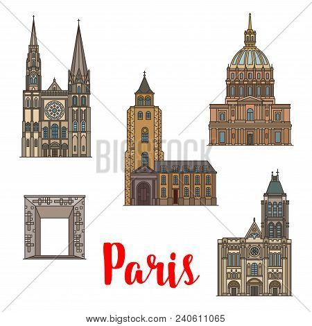 Travel Landmark Of Paris Linear Icon Set Of French Architecture. National Residence Of The Invalids,