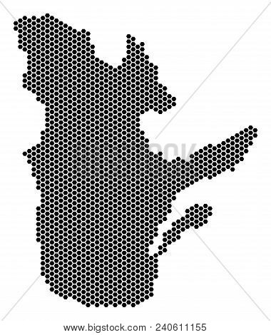 Hex Tile Quebec Province Map. Vector Geographic Plan On A White Background. Abstract Quebec Province