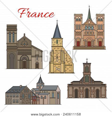 French Travel Landmark Thin Line Icon With Architecture Of Havre City. St Michel Chapel, Church Of S