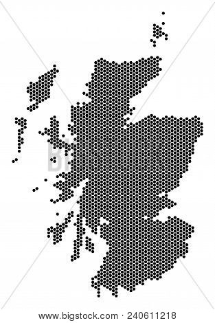 Hexagon Scotland Map. Vector Territorial Scheme On A White Background. Abstract Scotland Map Mosaic