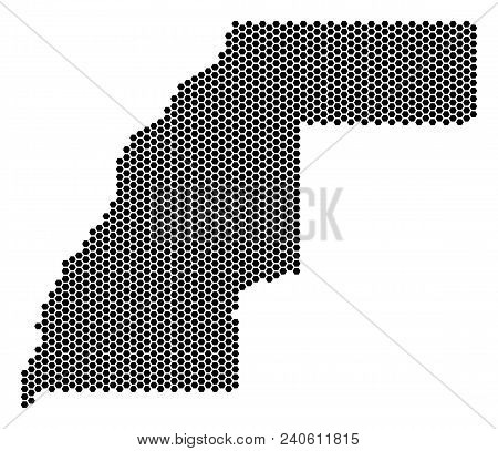 Hex Tile Western Sahara Map. Vector Territory Scheme On A White Background. Abstract Western Sahara