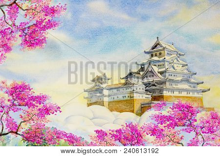 Osaka Castle Sakura; Spring Cherry Blossoms And The Main Tower Of The Unesco World Heritage Site: Hi
