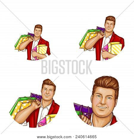 Vector Pop Art Avatar Of Pretty Fat Man With Shopping Bags. Networking Element With Obese Handsome C