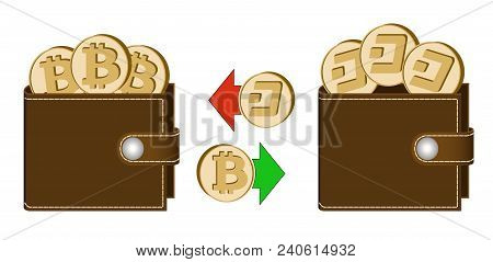 Exchange Bitcoin To Dash Between Wallets On A White Background , Exchange Cryptocurrency In The Wall