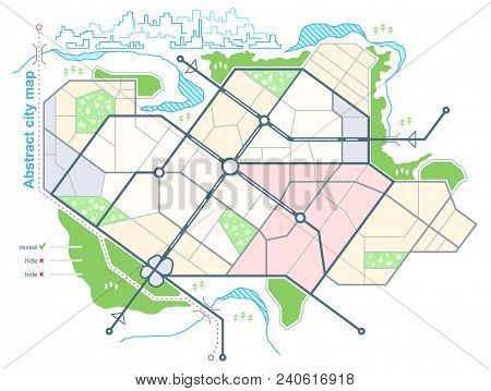 Generic Map Of  Abstract City. Urban Environment With Scheme Of Town Streets On The Plan. Architectu