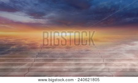 Stairway To Heaven . Way To Heaven . Steps Leading Up To The Sun.  Way To God .  Bright Light From H