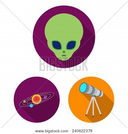Space Technology Flat Icons In Set Collection For Design.spacecraft And Equipment Vector Symbol Stoc