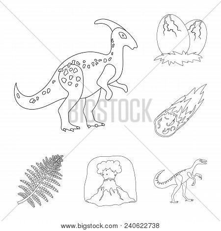 Different Dinosaurs Outline Icons In Set Collection For Design. Prehistoric Animal Vector Symbol Sto