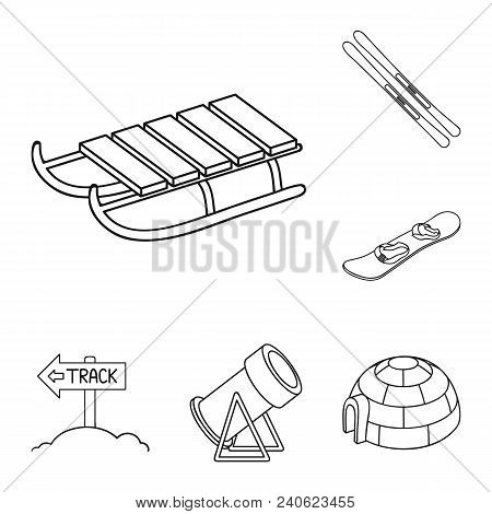 Ski Resort And Equipment Outline Icons In Set Collection For Design. Entertainment And Recreation Ve