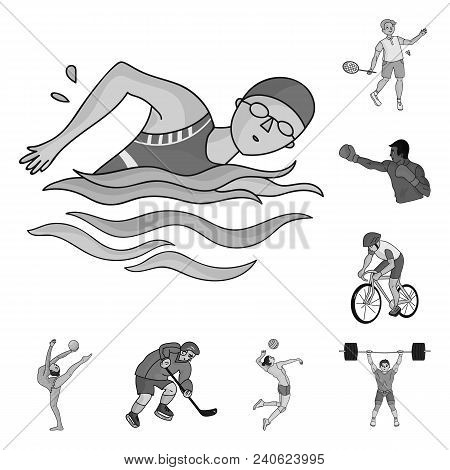 Different Kinds Of Sports Monochrome Icons In Set Collection For Design. Athlete, Competitions Vecto
