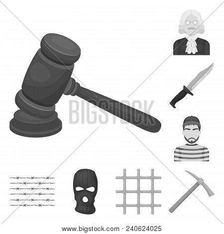 Prison And The Criminalmonochrome Icons In Set Collection For Design.prison And Attributes Vector Sy