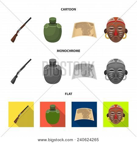 Hunting Rifle, Flask In The Case, Map, African Mask. African Safari Set Collection Icons In Cartoon,