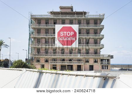 Beirut, Lebanon - September 29 2015: St George Hotel With The Sign Of Stop Solidere