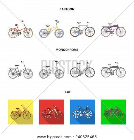 Children Bicycle And Other Kinds.different Bicycles Set Collection Icons In Cartoon, Flat, Monochrom
