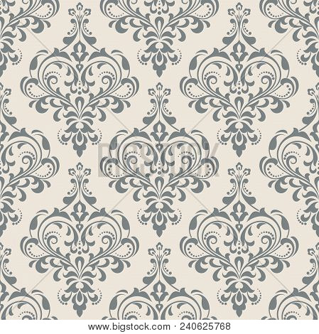 Vintage Wallpaper In The Baroque Style Seamless Vector Background Grey Ornament
