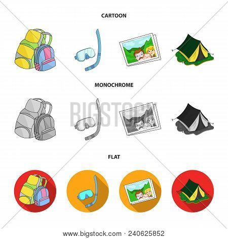 Travel, Vacation, Backpack, Luggage .family Holiday Set Collection Icons In Cartoon, Flat, Monochrom