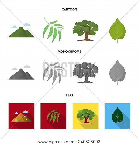 Mountain, Cloud, Tree, Branch, Leaf.forest Set Collection Icons In Cartoon, Flat, Monochrome Style V