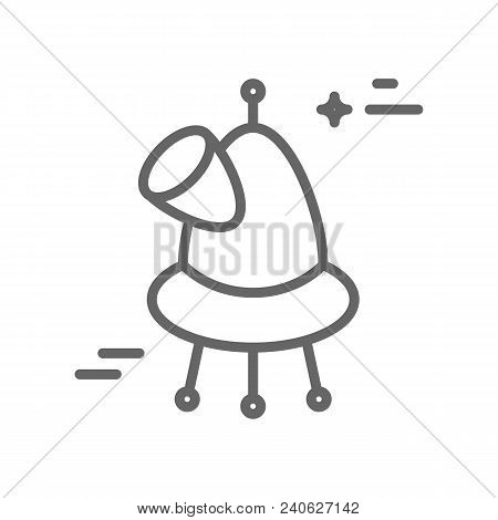 Observatory Logo Made In Trendy Line Stile Vector. Space Series. Space Exploration And Adventure Sym