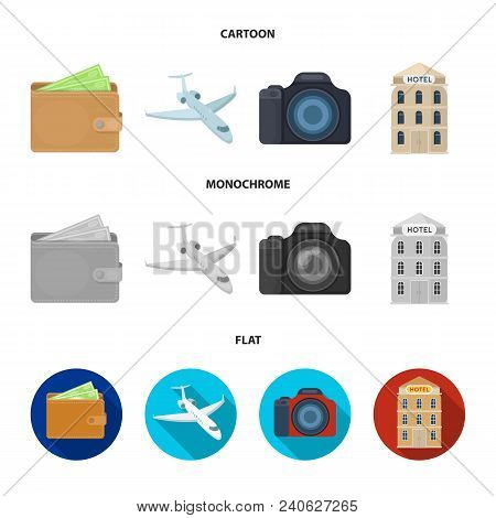 Vacation, Travel, Wallet, Money .rest And Travel Set Collection Icons In Cartoon, Flat, Monochrome S