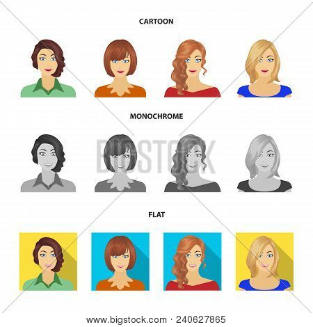 The appearance of a woman with a hairdo, the face of a girl. Face and appearance set collection icons in cartoon, flat, monochrome style vector symbol stock illustration . poster