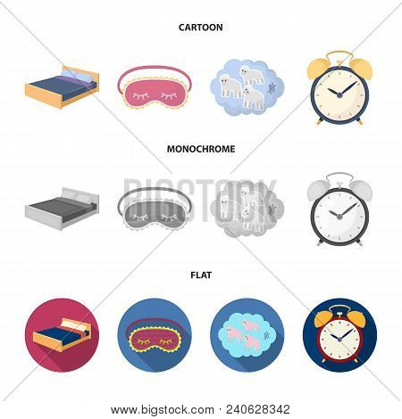 A Bed, A Blindfold, Counting Rams, An Alarm Clock. Rest And Sleep Set Collection Icons In Cartoon, F