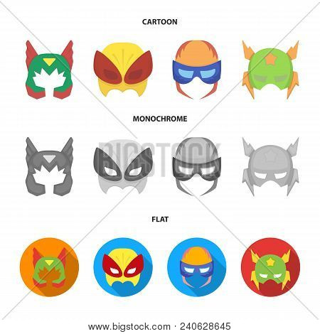 Mask On The Head, Helmet.mask Super Hero Set Collection Icons In Cartoon, Flat, Monochrome Style Vec