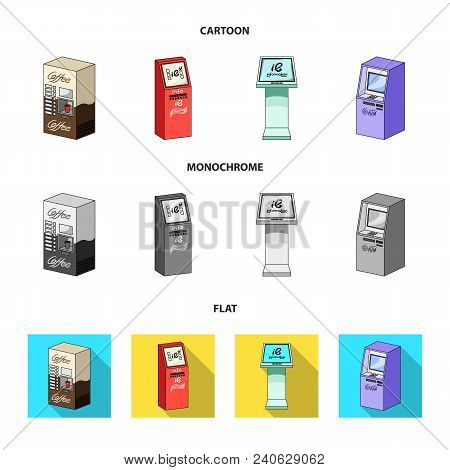 Coffee Machine, Atm, Information Terminal. Terminals Set Collection Icons In Cartoon, Flat, Monochro