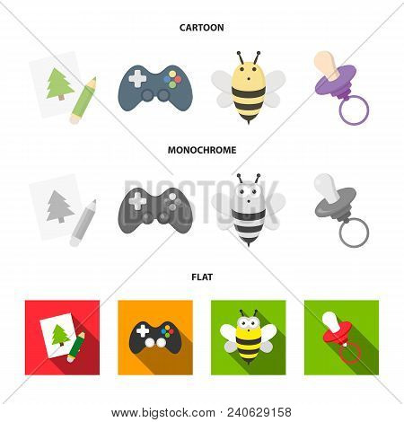 Picture, Dzhostik, Bee, Nipple.toys Set Collection Icons In Cartoon, Flat, Monochrome Style Vector S