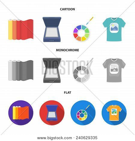 Scanner, Color Palette And Other Equipment. Typography Set Collection Icons In Cartoon, Flat, Monoch