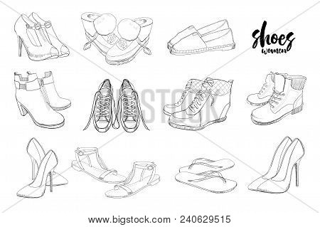 Vector illustration of Set hand drawn graphic Men and women Footwear, shoes. Shoe for casual, sport and classical style, gumshoes, boots for all seasons. Doodle, drawing Design isolated object. poster