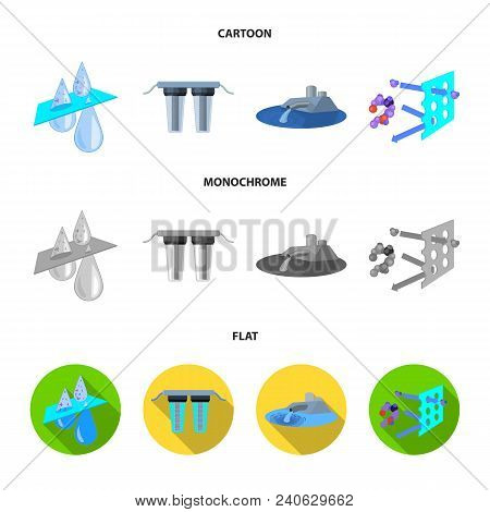 Filter, Filtration, Nature, Eco, Bio .water Filtration System Set Collection Icons In Cartoon, Flat,